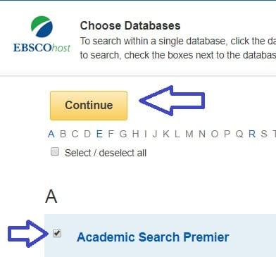 מסך בחירת מאגר - Ebsco - Academic search premier